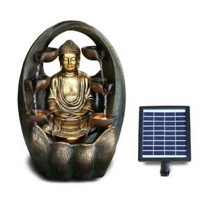 Solar Outdoor Water Feature LED Polyresin Statues Home Decoration Golden Buddha