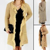 Cardigan Long Chunky Sweater Ladies Womens Jumper Knitted Top Button size M L