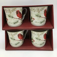 x4 222 Fifth Holiday Wishes Coffee Mug Set Christmas Poinsettia Cardinal Box NEW