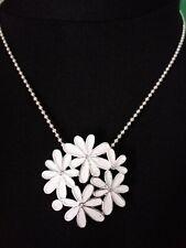 SILVER, WHITE ENAMEL & CRYSTAL FLOWER PENDANT & NECKLACE