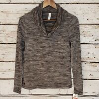 Ideology Cowl Neck Pullover Fleece Top Sweatshirt Gray Athleisure XS Lounge