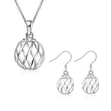 Ladies Shiny 925 Sterling Silver Solid Fashion Jewellery Earrings Necklace Set