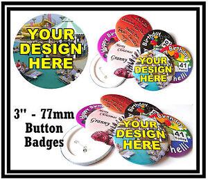 10 x 77mm Groß Individuell Button Anstecker Personalisiert Mit You Own Design -