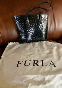 Furla Italy Black Leather Crocodile Embossed Tote Handbag Purse
