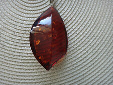 NATURAL BALTIC AMBER PENDANT, NECKLACE (SILVER, HUGE)- NEW