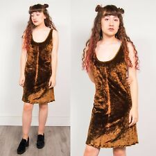 90S VINTAGE BROWN CRUSHED VELVET WOMENS MINI DRESS BODYCON SCOOP NECK 16