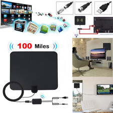 Flat Indoor Digital TV Antenna 100 Mile Range 1080P Signal Booster Amplifier HD