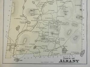 Albany Maine 1880 Halfpenny detailed township map home owners businesses schools