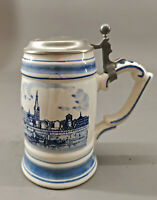99848080 Keramik-Bierkrug Delft Fabbrica Birra Castelli Düsseldorf 1991 H20cm