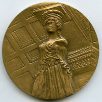 France Bronze Art Medal UNESCO 1977 Acropolis Athens by Santucci 58mm 102g