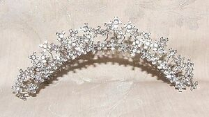 1980s Tiara Hair Comb Rhinestone Floral Nodder Hand Made Silver Wire Wrapped
