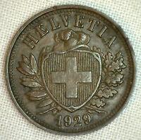 1929 Switzerland 2 Rappen KM# 4.2 World Coin XF Bronze