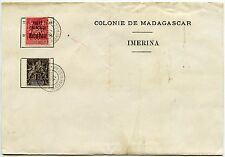 FRENCH MADAGASCAR 50c + 10c on 1897 OFFICIAL IMERINA COLONY NOTEPAPER VFU