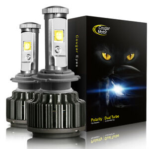 H7 LED Headlight Bulbs High/Low/Fog Light Kit 60W 7200LM 6000K Cougarmotor