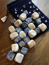 Royal Wizard Elder Futhark Rune Set *Velvet Moon & Stars* LAPIS LAZULI Moonstone