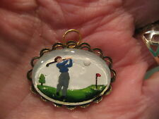 Reverse carved and painted intaglio golfer GOLF vintage cabachon pendant