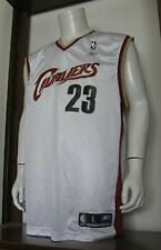 L Men Reebok LeBron James Cleveland Cavaliers NBA Basketball Jersey White EUC