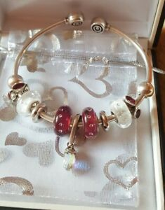 CHAMILIA Flexi Bungle Complete With 9 Beads Dungle Charm Spacers Immaculate.