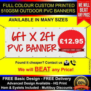 6ft x 2ft PVC Banner Custom Printed Outdoor Heavy Duty Banners Advertising