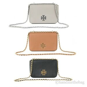 Tory Burch Britten Large Leather Adjustable Chain Shoulder Tote Handbag Purse