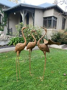 SET 3 Cranes Metal Bird Head Up, Down & with Wings Garden Ornament Sculpture Sta