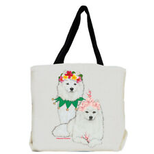 American Eskimo Eskie Dog with Flowers Tote Bag