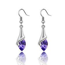 Fashion 1pair Austria Crystal Horse Eyes Stone Shiny Dangle Earrings