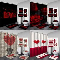 Valentine's Day Waterproof Bathroom Shower Curtain Toilet Cover Mat Ru  VU