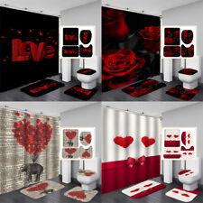 Valentine's Day Waterproof Bathroom Shower Curtain Toilet Cover Mat Rug TUA