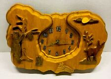 Wooden Forest Theme Clock Hand Made. Tested works nice looking craftsmanship
