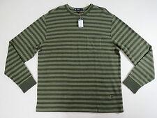 Cremieux Classic 38 Men Long Sleeve Green Stripe Crewneck  Sweater X-Large