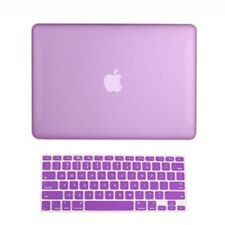 """2 in1 Rubberized PURPLE Hard Case for Macbook White13"""" A1342 with Keyboard Cover"""
