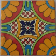 """C187) 9 Decorated Mexican Talavera Clay 4"""" x 4"""" Tiles"""