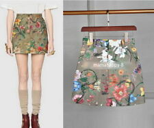 Dark Green Floral Butterfly Mini Denim Skirt Runway Occident 83n