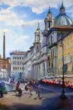 Rome, Italy, Piazza Navona, Landscape on canvas by Star