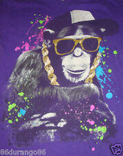 COOL HIP HOP MONKEY WITH BLING AND SUNGLASSES PURPLE T SHIRT SZ S GUC