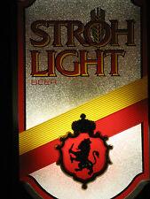 VINTAGE 1986 STROHS LIGHT LIGHTED MANCAVE BEER SIGN w/LION & CROWN,NICE!
