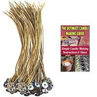 "8"" Organic Hemp Candle Wicks 100 pcs; 100% Natural Beeswax PRE-Waxed Tabbed"
