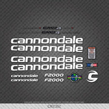 0632 White Cannondale F2000 Bicycle Stickers - Decals - Transfers
