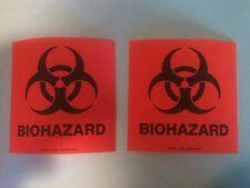 "2x BIOHAZARD orange Sticker Decal Warning Danger Label Medical OSHA Safety 4""x4"""
