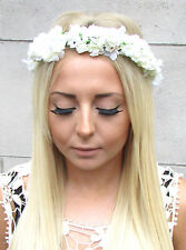 Ivory Cream Gypsophila Baby's Breath Flower Headdress Garland Headband Boho W93