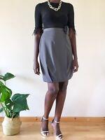 Giorgio Armani Grey 80's Vintage Skirt Bubble Pure New Wool Size 42/ Uk 8