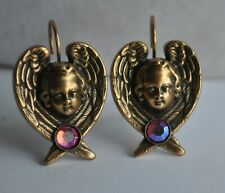 KIRKS FOLLY ANGEL FACE WING EARRINGS  IN ANTIQUE GOLD TONE