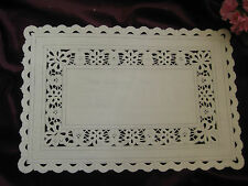 VTG 8 X 12 INCH OFF WHITE IVORY RECTANGLE PAPER LACE DOILIES CRAFT 8 PCS USA