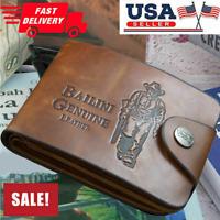 Men´s Leather Bifold ID Card Holder Purse Wallet Billfold Handbag Slim Clutch