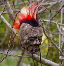 FLAME HAIR MOHAWK SHRUNKEN HEAD CAR MIRROR DANGLE GOTH 50s