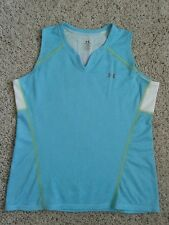 Under Armour Womens Tank Top Medium MD Blue Green Striped Reflective Running