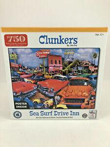 Clunkers By John Roy--750 Piece Jigsaw Puzzle--Malibu Surf Bar Classic Car