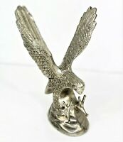 Vintage Hampshire Genuine Solid Metal Silver Plated Eagle Sculpture With Talons
