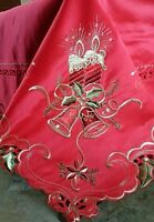"""Polyester 72x108"""" Red Christmas Holiday Candle Bell Embroidery Tablecloth Napkin"""